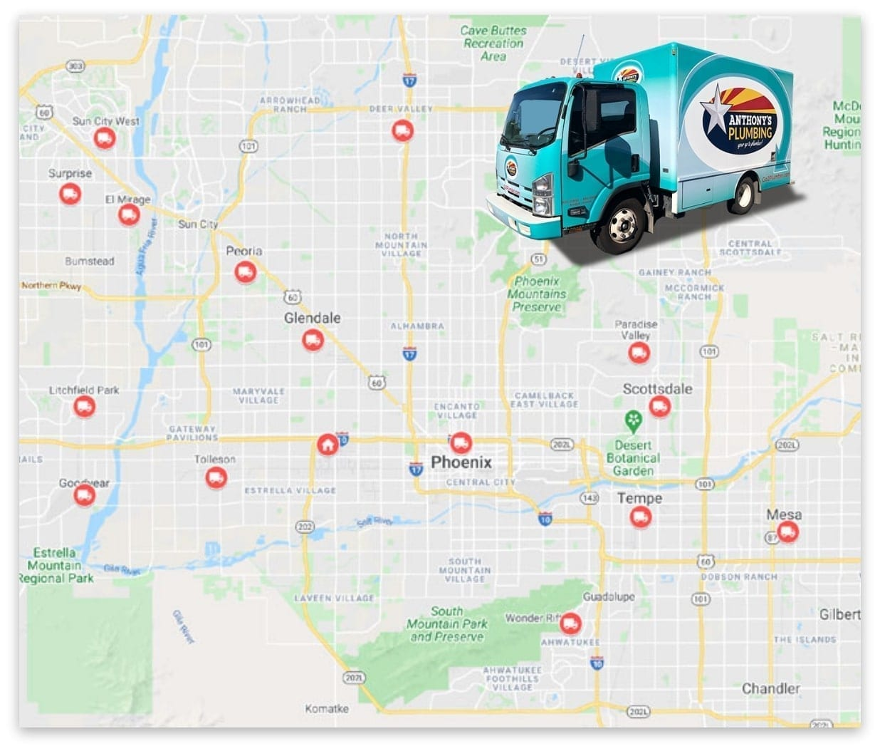 Anthony's Plumbing Service Area Map